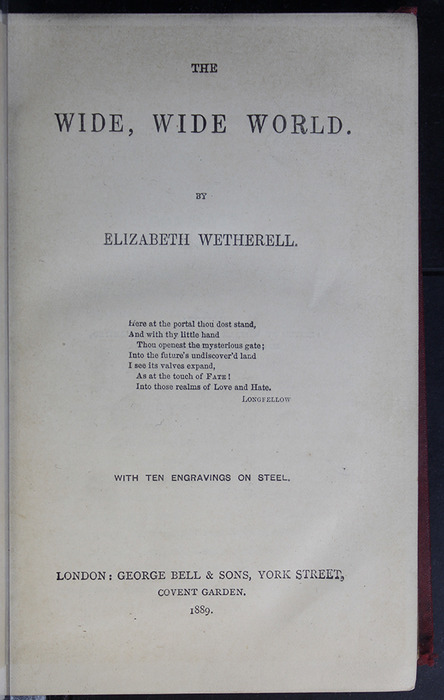 Title Page to the 1889 G. Bell Reprint