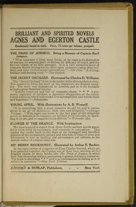 Third Page of Back Advertisements in the [1907] Grosset & Dunlap Reprint, Version 3