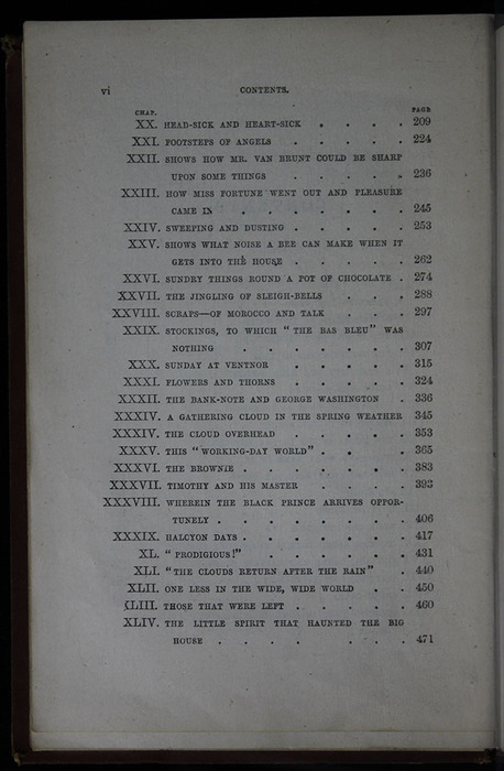"Second Page of the Table of Contents for the 1883 James Nisbet & Co. ""New Edition"" Reprint"