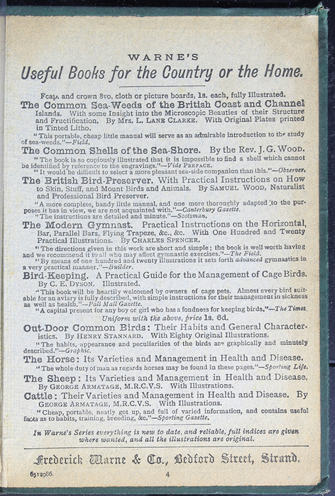 """Advertisement on Back Pastedown of the [1884] Frederick Warne & Co. """"Star Series"""" Reprint"""