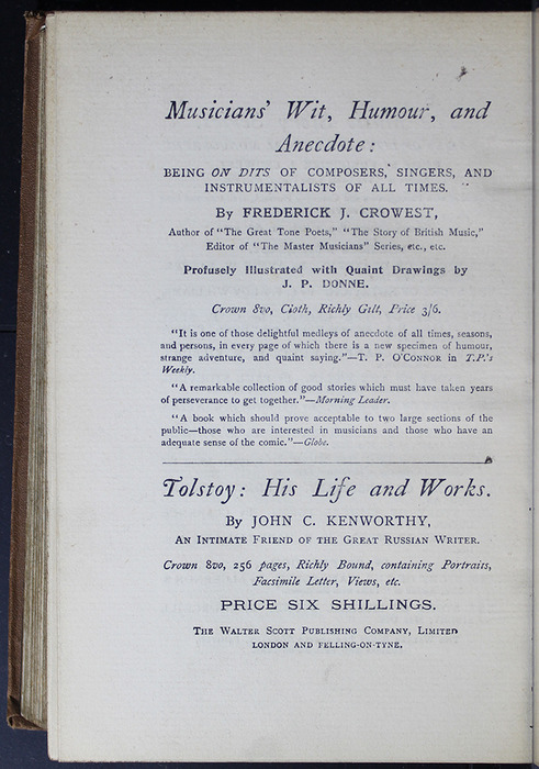 Sixteenth Page of Back Advertisements in the [1896] The Walter Scott Publishing Co. Ltd. Reprint