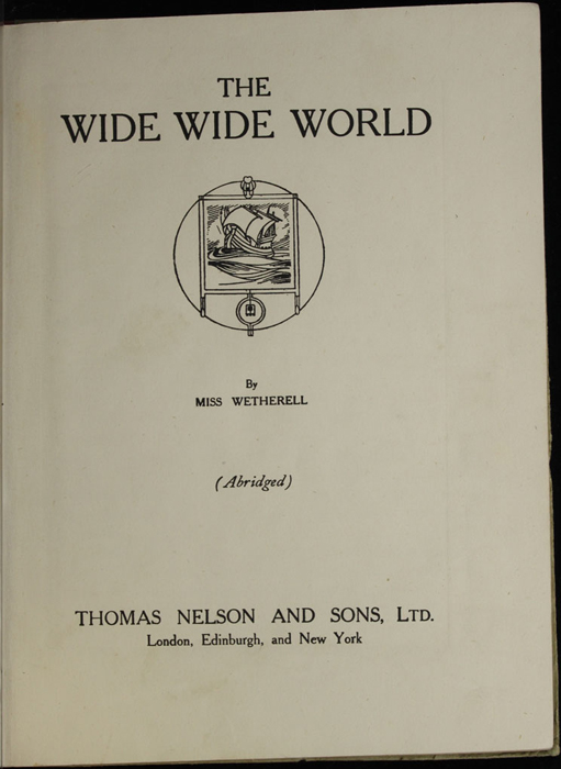 Title Page to the [1918] Thomas Nelson & Sons, Ltd. Abridged Reprint