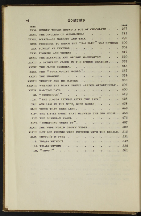 Second Page of the Table of Contents for the [1907] Grosset & Dunlap Reprint, Version 1