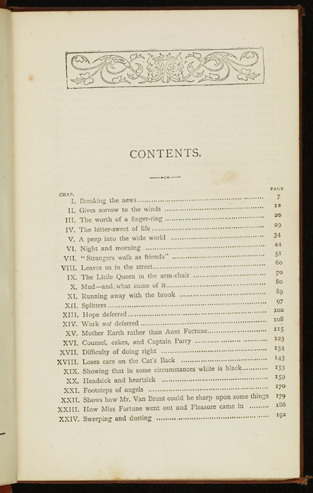 """First Page of the Table of Contents for the [1877] Ward, Lock & Co. """"Good Tone Library, Complete Edition"""" Reprint"""