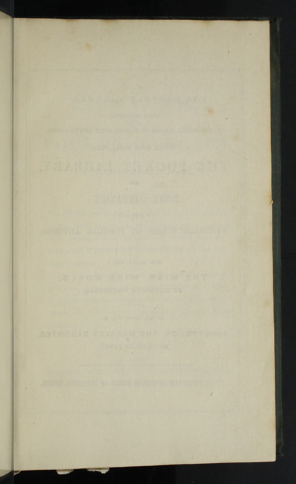 "Recto of First Page of Front Advertisements in the 1853 Eli Charles Eginton & Co. ""Pocket Library"" Reprint"