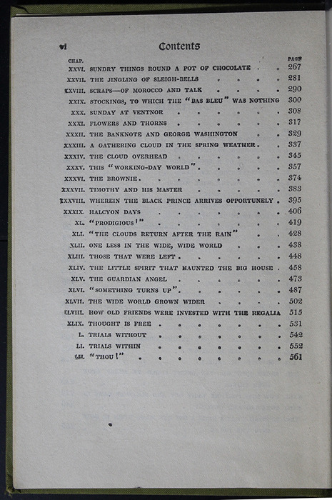 Second Page of the Table of Contents for the [1907] Grosset & Dunlap Reprint, Version 4
