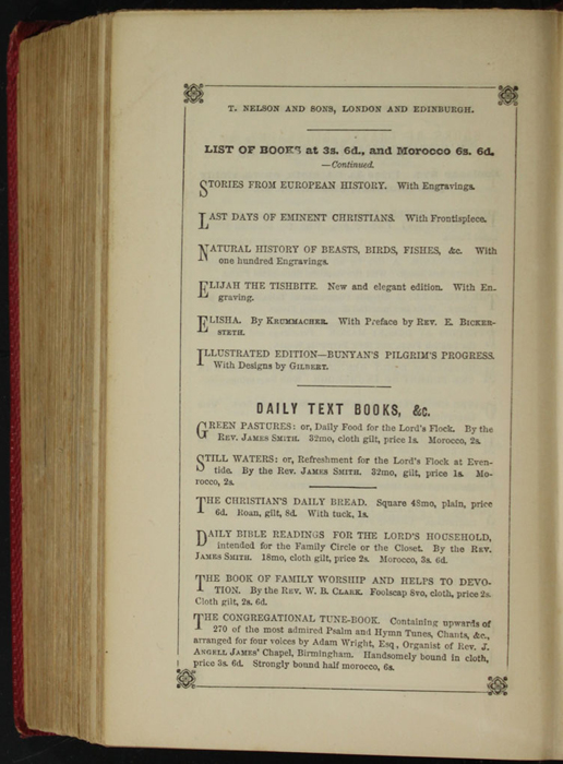 Ninth Page of Back Advertisements in the 1852 T. Nelson & Sons Reprint, Version 1