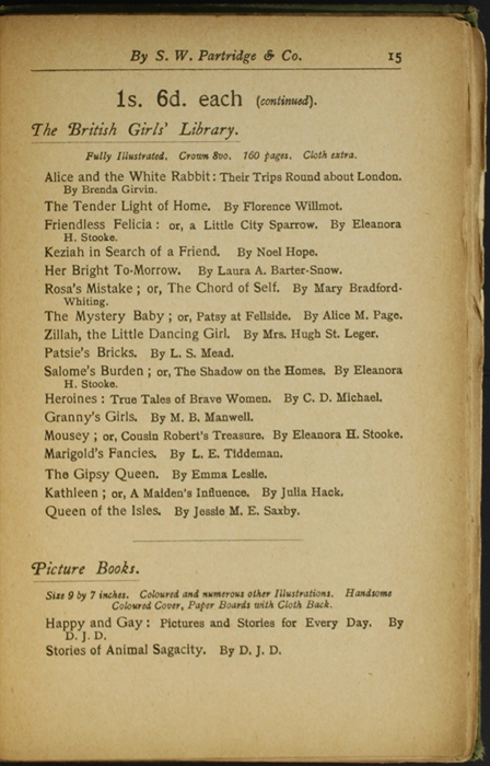 Fifteenth Page of Back Advertisements in the [1904] S. W. Partridge & Co. Reprint