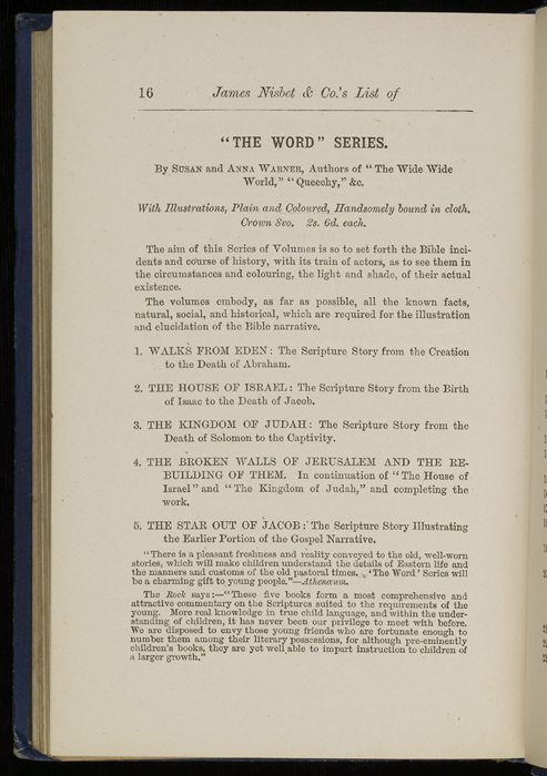 "Sixteenth Page of Back Advertisements in 1886 James Nisbet & Co. ""New ed. Golden Ladder Series"" Reprint"
