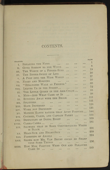 "First Page of the Table of Contents for [1890] Frederick Warne & Co. ""Star Series"" Reprint, Version 2"