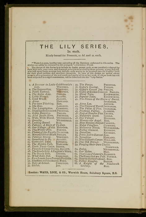 """Second Page of Advertisements of the [1885] Ward, Lock & Co. """"Home Treasure Library Complete ed."""" Reprint, Version 1"""