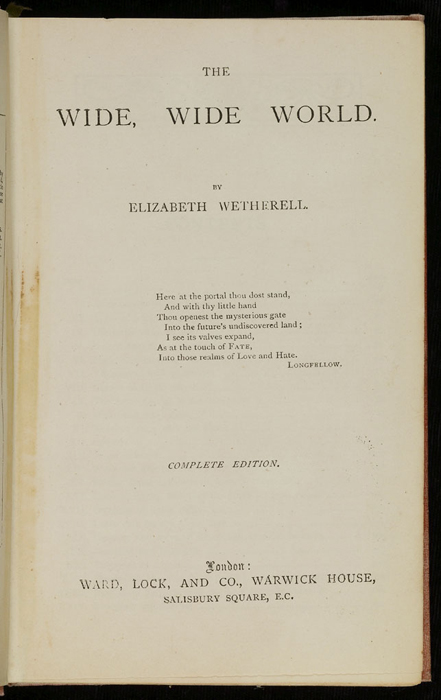 """Title Page to the [1882] Ward, Lock & Co. """"Lily Series, Complete Edition"""" Reprint"""