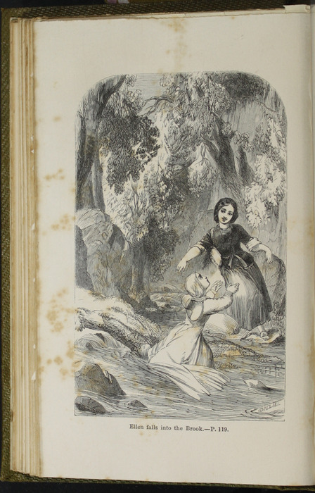 Illustration on Page 118c of the 1853 G. Routledge and Co. Reprint Depicting Ellen and Nancy at the Brook