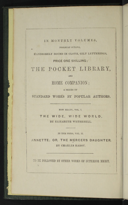 "First Page of Front Advertisements in the 1853 Eli Charles Eginton & Co. ""Pocket Library"" Reprint"