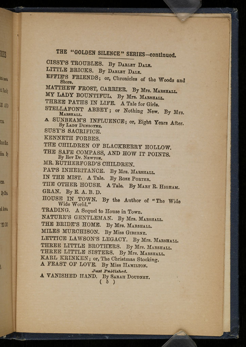 Fifth Page of Front Advertisements in [1896] James Nisbet & Co. Reprint