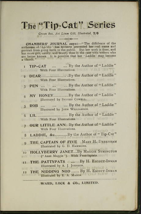 """Second Page of Advertisements to the [1903] Ward, Lock, & Co., Ltd. """"Complete Edition"""" Reprint"""