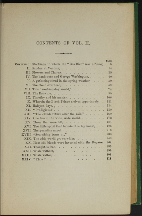 """Table of Contents for Volume 2 of the 1880 J. B. Lippincott & Co. """"New Edition"""" Reprint"""