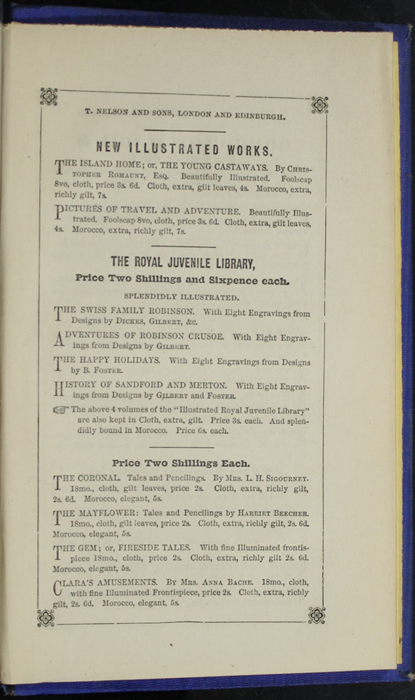 Second Page of Back Advertisements in the 1852 T. Nelson & Sons Reprint, Version 2