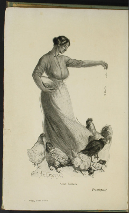 Frontispiece to the [1910] R.F. Fenno & Co. Reprint Depicting Aunt Fortune Feeding Chickens