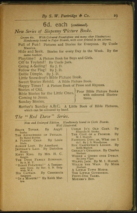 Twenty-Ninth Page of Back Advertisements in the [1904] S. W. Partridge & Co. Reprint