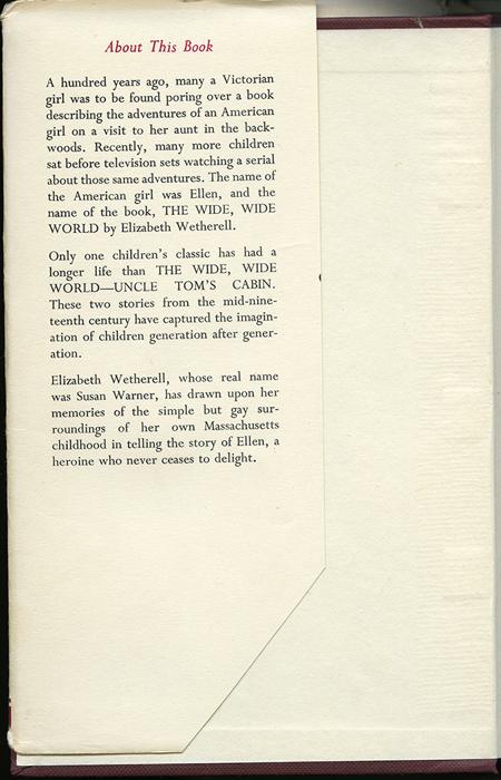Front Dust Jacket Flap of the [1950] University of London Press, Ltd. Abridged Reprint