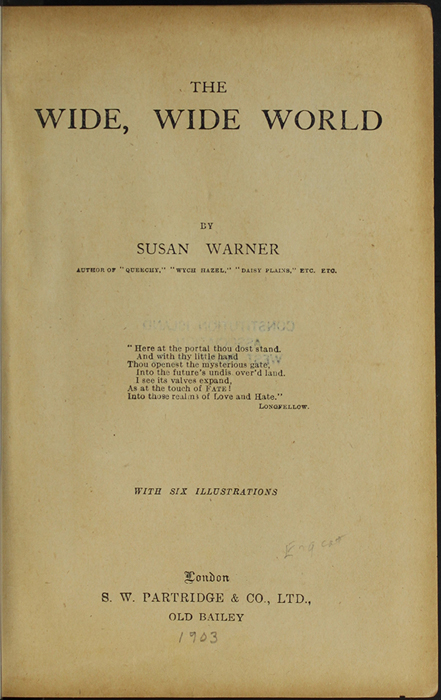 Title Page to the [1910] S.W. Partridge & Co., Ltd. Reprint