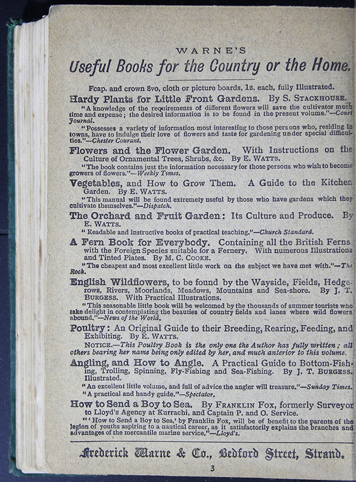 """Advertisement on Verso of Back Flyleaf of the [1884] Frederick Warne & Co. """"Star Series"""" Reprint"""