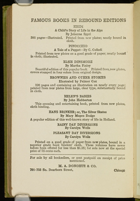 Fourth Page of Back Advertisements in the [1915] M. A. Donohue & Co. Reprint