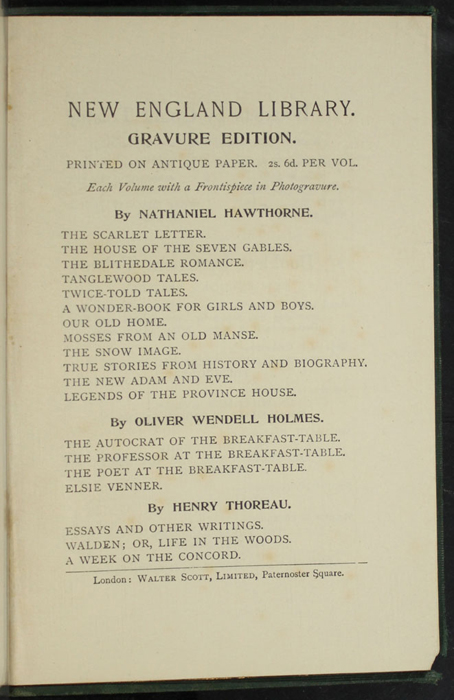 "Seventeenth Page of Back Advertisements in the [1893] Walter Scott, Ltd. ""Emerald Library"" Reprint"