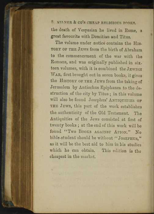 Eighth Page of Back Advertisements in the [1868] Milner & Co. Reprint, Version 1