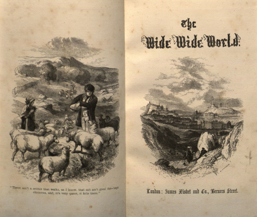 """Facing Frontispiece and Title Page Vignette of Volume 1 of the 1853 James Nisbet, Sampson Low, Hamilton, Adams, & Co. """"Author's Edition"""" Reprint Depicting Mr. Van Brunt Tending His Flock and Edinburgh"""