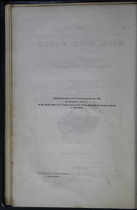 Colophon for Volume 1 of the 1852 George P. Putnam 16th Edition, Version 2