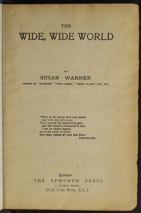 Title Page to the [1928] Epworth Press Reprint