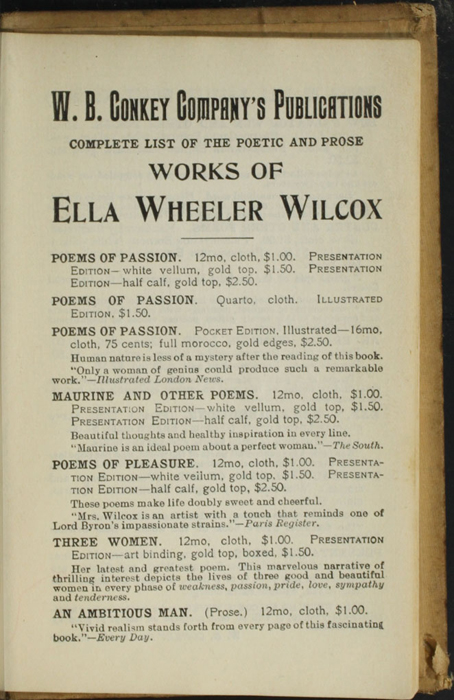 Third Page of Back Advertisements in the [1900] W.B. Conkey Reprint