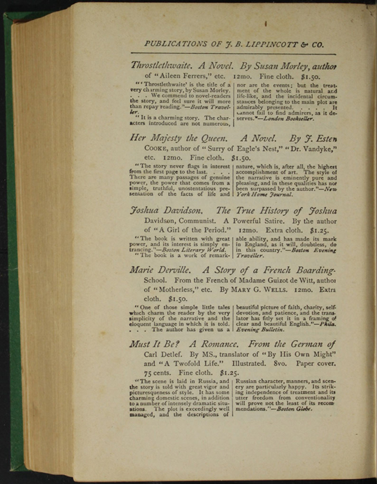 """Sixth Page of Back Advertisement in the 1880 J. B. Lippincott & Co. """"New Edition"""" Reprint"""