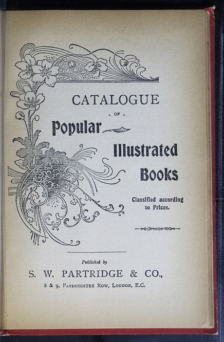 "First Page of Back Advertisements in the [1896] S. W. Partridge & Co. ""Marigold Series"" Reprint"