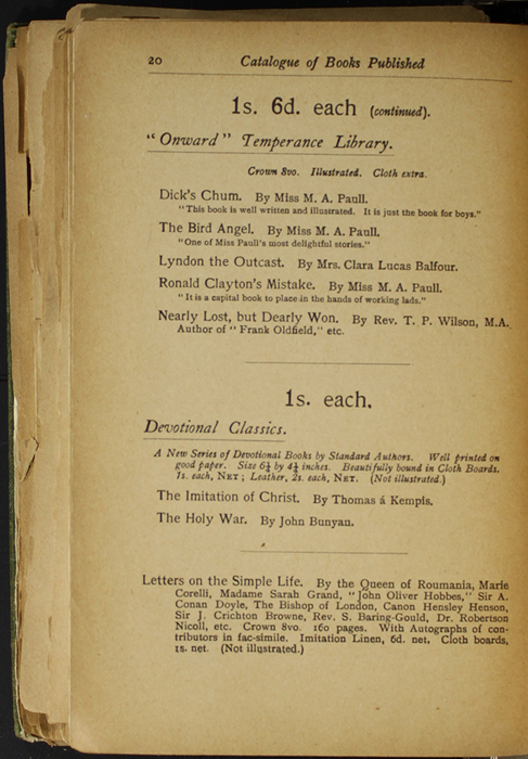 Twentieth Page of Back Advertisements in the [1904] S. W. Partridge & Co. Reprint