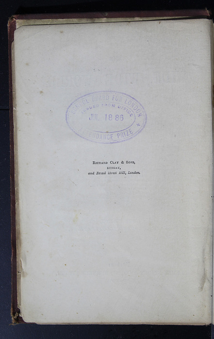 """Colophon for the 1886 James Nisbet & Co. """"New Edition"""" Reprint"""