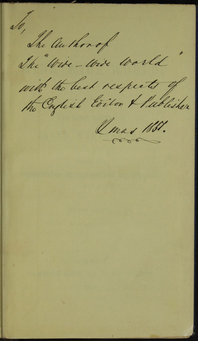 Recto of Front Flyleaf of Volume 1 of the 1852 Sampson Low Reprint with an Inscription to Warner from Sampson Low