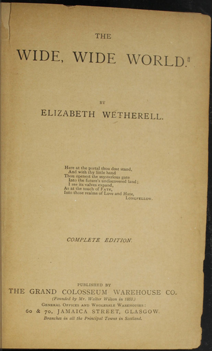 "Title Page to the [1896] The Grand Colosseum Warehouse Co. ""Complete Edition"" Reprint"