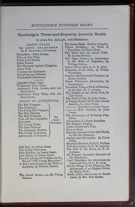 "Third Page of Back Advertisements in the [1885] George Routledge & Co. ""Ruby Series"" Reprint"