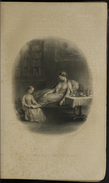 Illustration on Page 18b of the 1853 H. G. Bohn Reprint, Version 1 Depicting Ellen and Mamma in the Parlour Reading