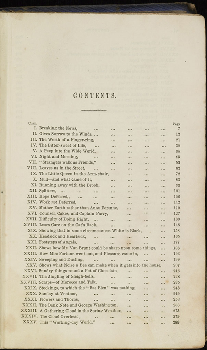 First Page of the Table of Contents for the 1853 T. Nelson & Sons Reprint