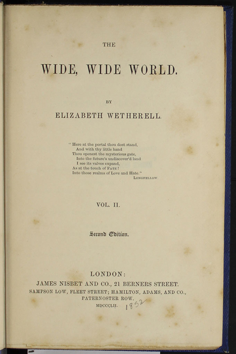 "Title Page to Volume 2 of the 1852 James Nisbet, Sampson Low, Hamilton, Adams & Co. ""Second Edition"" Reprint"