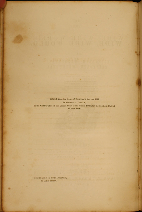 Copyright Page to Volume 1 of the 1852 George P. Putnam 16th Edition, Version 1