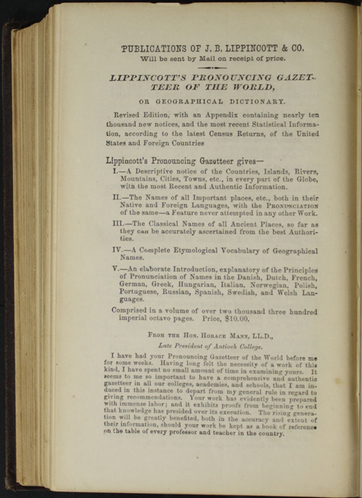 "Sixth Page of Back Advertisements in the 1869 J. B. Lippincott & Co. ""New Edition"" Reprint"