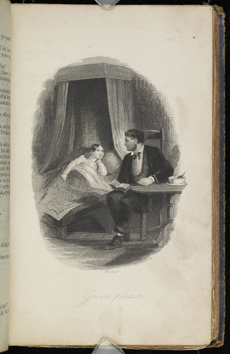 Illustration on Page 192a of the 1853 H.G. Bohn Reprint, Version 2 Depicting Mr. Van Brunt Reading to Ellen at Her Sickbed