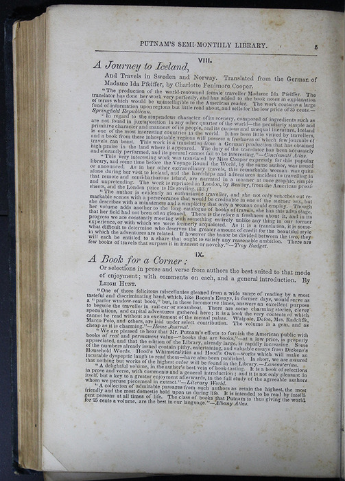 First Page of Back Advertisements in Volume 2 of the 1852 George P. Putnam 16th Edition, Version 2