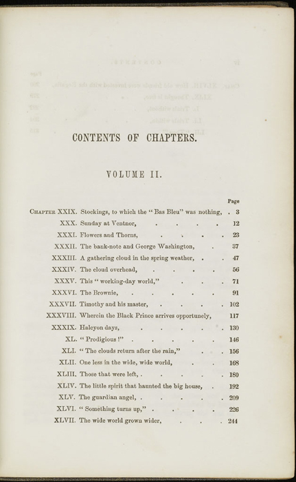 First Page of the Table of Contents for Volume 2 of the 1851 George P. Putnam First Edition