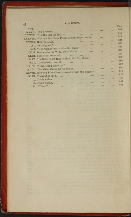 "Second Page of the Table of Contents for the 1853 T. Nelson & Sons ""Nelson's Library for Travellers and the Fireside"" Reprint"